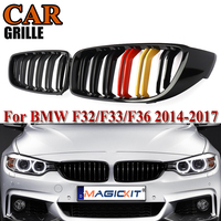MagicKit 2Pcs Gloss Black M Color Dual Front Hood Kidney Grilles Grills For BMW 4 Series F32 F33 F36 435i 428i F82 F83 14 17