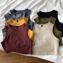 Summer new ladies retro crop top high waist slimming stretch slim short sleeveless bottoming top M30709