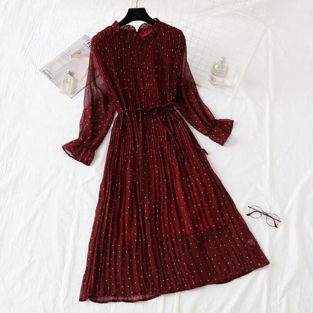 Elegant Polka Dot Women Dress Female Casual Flare Sleeve Office Chiffon Dot Print Dresses A-line Vintage Sweet Clothing Vestidos 2