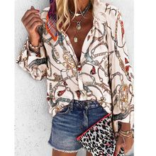 OEAK 2019 Print Women Blouses Long Sleeve Turn-down Collar Chiffon Blouse Shirt Casual Tops Plus Size Package Hips