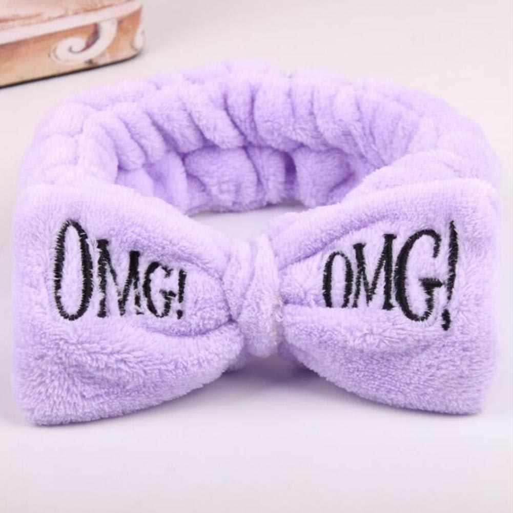 2020 ตัวอักษรใหม่OMG CoralขนแกะBows HeadbandหญิงMake Up Soft Hairbandน่ารักผู้ถือผมผมวงHeadwearผมอุปกรณ์เสริม
