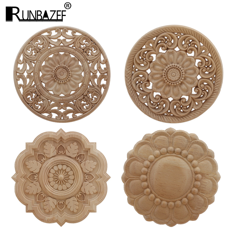 Wood Applique Onlay Wood Decal Antique Modern Ornamental Rose Crown Leaves Corner Home Decoration Accessories Cabinet Window
