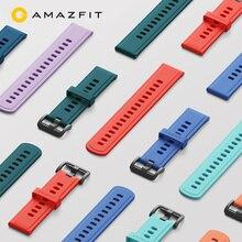 Bracelet de montre Original couleur silice Bracelet pour Xiaomi Huami Amazfit GTR (47mm & 42mm) rythme Stratos montre de Sport intelligente et Bip Lite