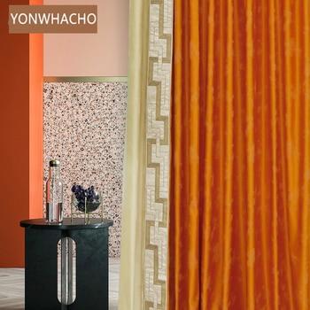 Custom curtains High-class orange luxury post-modern high-precision bedroom France cloth blackout curtain tulle drape B852