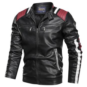 2019 automne hiver hommes veste en cuir décontracté mode col montant moto veste hommes mince Style qualité en cuir veste hommes