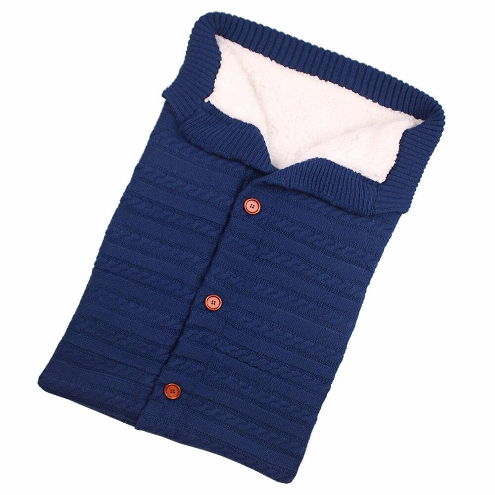 Newborn Baby Winter Warm Sleeping Bags Infant Button Knit Swaddle Wrap Swaddling Stroller Wrap Toddler Blanket Sleeping Bags