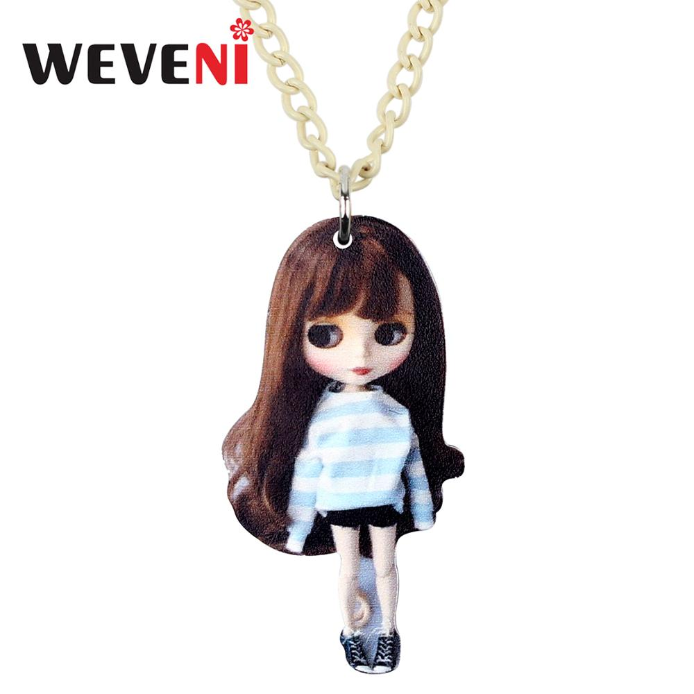 WEVENI Acrylic Sweet Long Hair Girl Doll Necklace Pendant Choker Party Jewelry 2019 New Design Girls Teens Festival Charms Gifts image