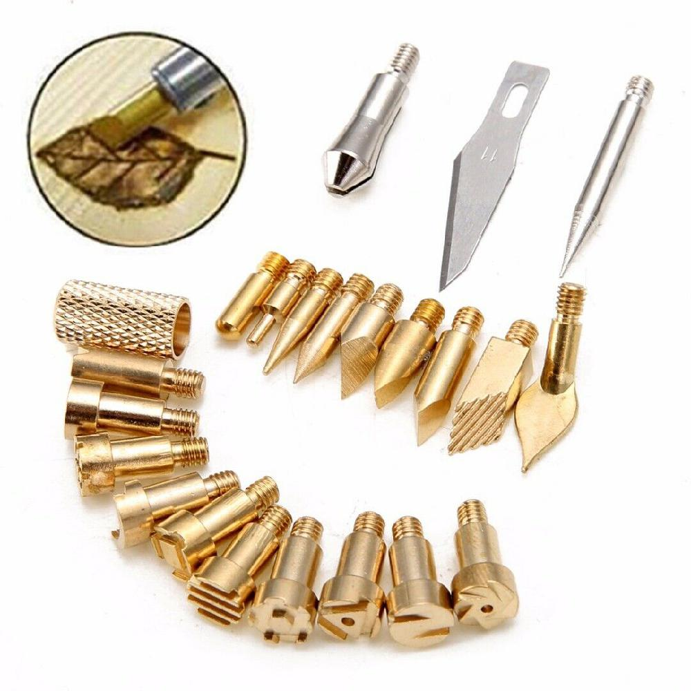 22Pcs Wood Burning Tool Kits Craft Set Soldering Iron Pyrography Art Pen Brass Tips Carving Brass Bits