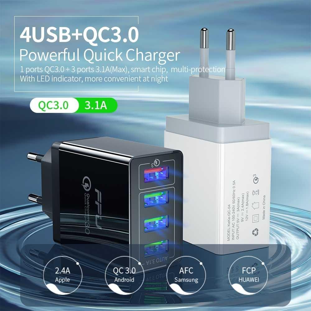 FPU USB Charger Cepat Biaya 3.0 Charger Cepat QC3.0 QC Multi Adaptor Steker Dinding Mobile Phone Charger untuk Iphone Samsung xiao Mi Mi