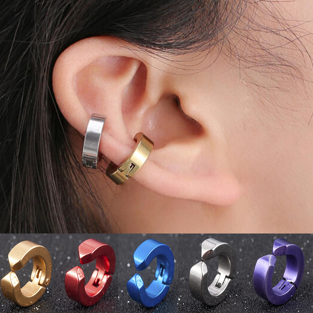 Clip-on Fake Stainless Steel Earrings No Pierced Non-piercing Earcuff Ear Clip Earrings Without Piercing Street Pop Punk Jewelry