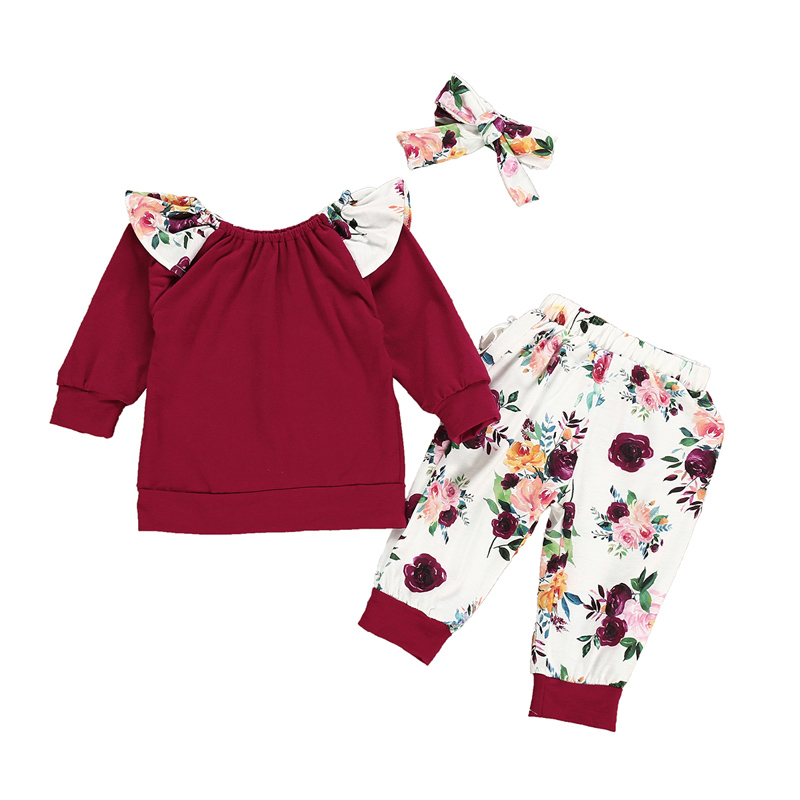SOSOCOER Newborn Girls Clothes Set Spring Autumn Solid T-shirt+Floral Pants+Headband 3pcs Toddler Baby Clothing Outfits