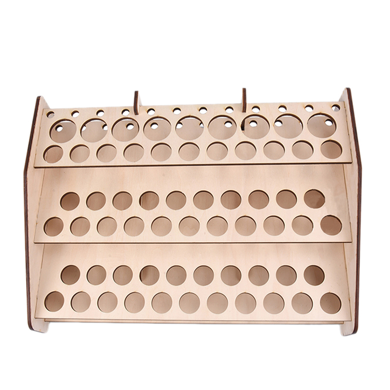 ABSS-74 Hole Wooden Pigment Bottle Storage Organizer Color Paint Ink Brush Stand Rack Modular Holder School