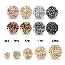 4 6 8 10 12mm Runde Disco Ball Perlen Micro Pflastern AAA Zirkonia Charms Kupfer Lose Spacer Perlen Für schmuck Machen Zubehör