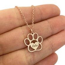 Gato bonito pata nome colar coração pingente personalizado pegada urso cão gravado jóias feminino criança melhores presentes