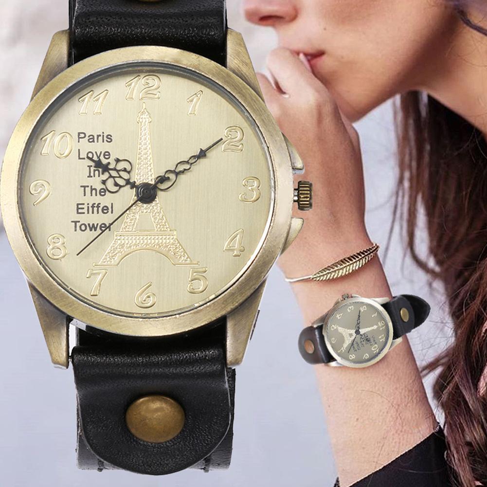 Durable Stylish Eiffel Tower Faux Leather Strap Arabic Number Analog Quartz Wrist Watch Unisex Gift наручныечасы RelogioFeminino