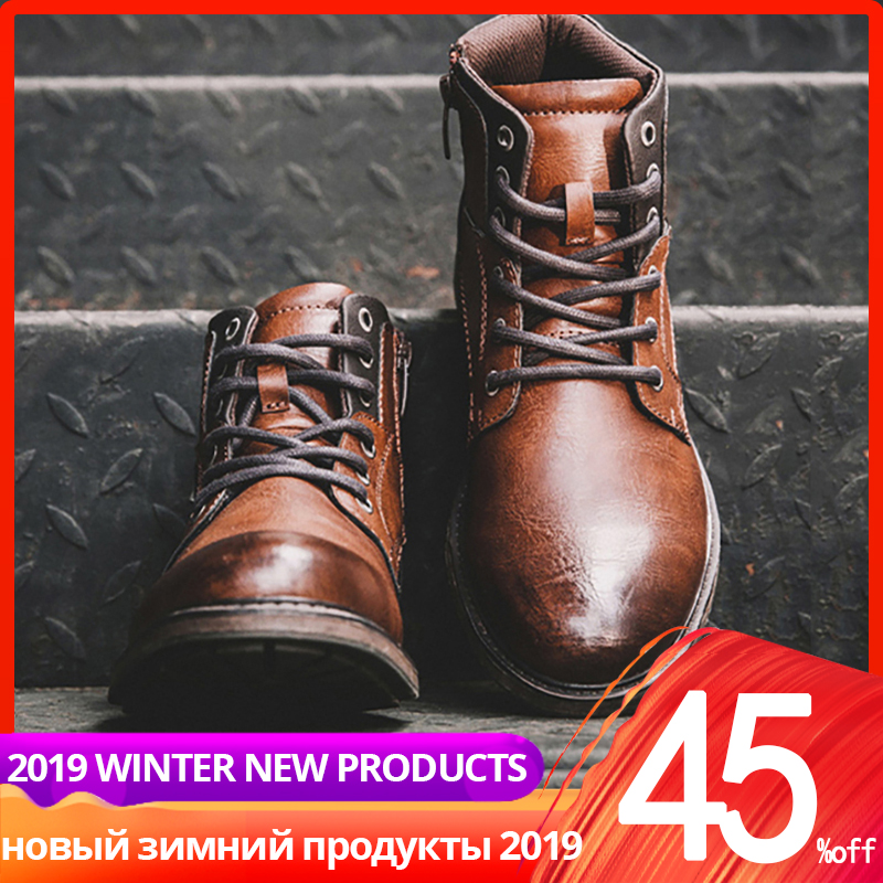 39-48 Men Boots Vintage Autumn Ankle High Top Leather Casual High Quality Men Winter Shoes #AF3998