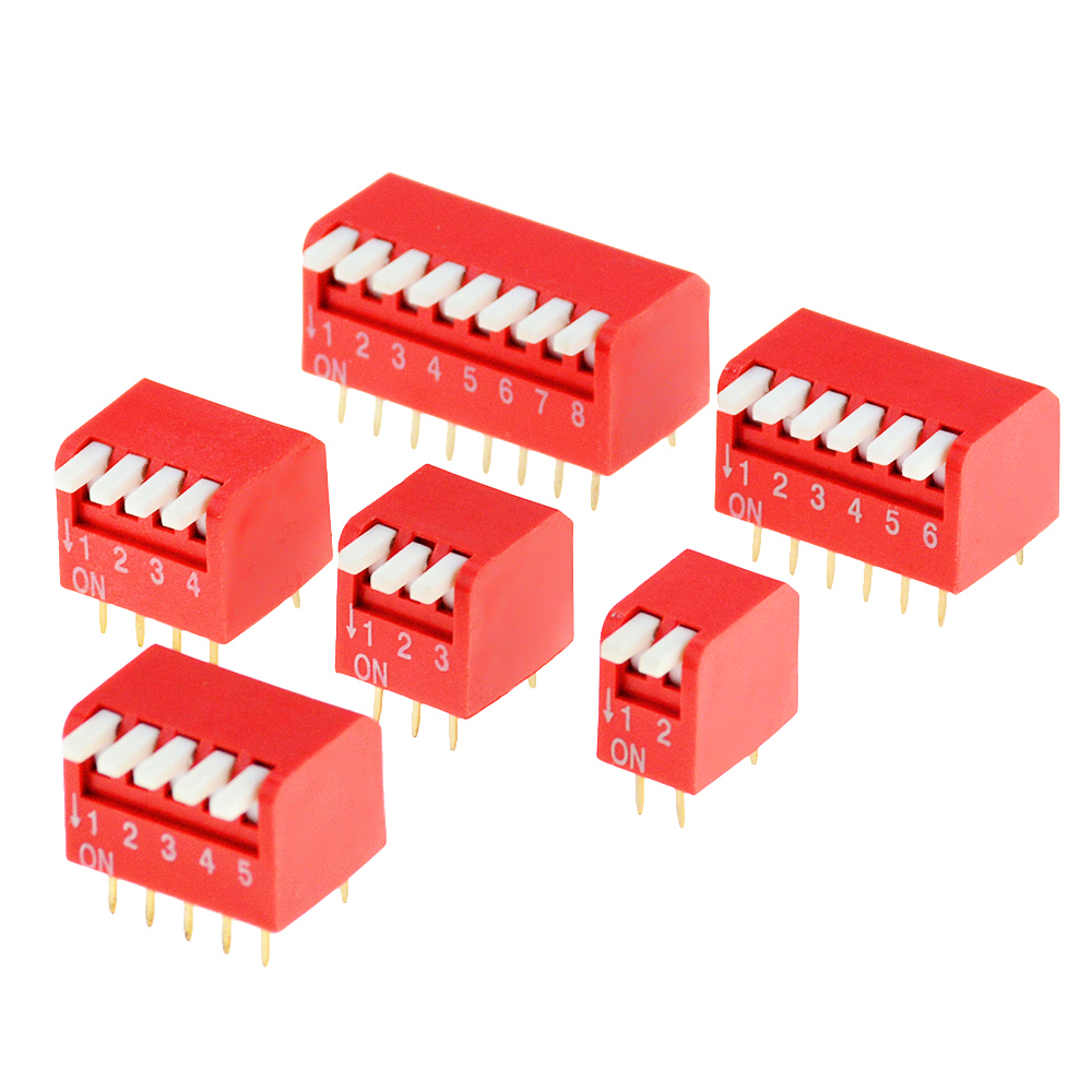 5PCS Slide Type Lateral Switch Module 2P 3P 4P 5P 6P 8P Bit 2.54mm Position Way DIP Red Pitch Toggle Switch Snap Switch