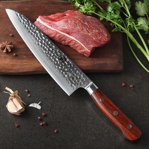 Image 5 - XINZUO Juego de cuchillos de acero damasco Juego de Cuchillos de Cocina, 7 Uds., utensilios de cocina para pelar, Chef Santoku, mango de palisandro para Cocina