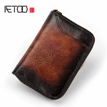 Vegetable Tanned Leather Vintage Mens Wallets Money ID Credit Card Case Small Man Vertical Zipper Coin Purse Card Holder Wallet