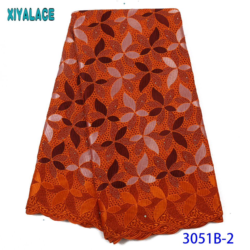 New Arrivals Swiss Voile Lace High Quality African Dry Lace Fabric 100% Cotton Lace With Stones Punch Holes KS3051B