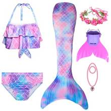 Girls Mermaid Tail For Swimming Cosplay Swimsuit Kid's Sparkle Tails Swimmable Costume Swimwear Sets With Monofin
