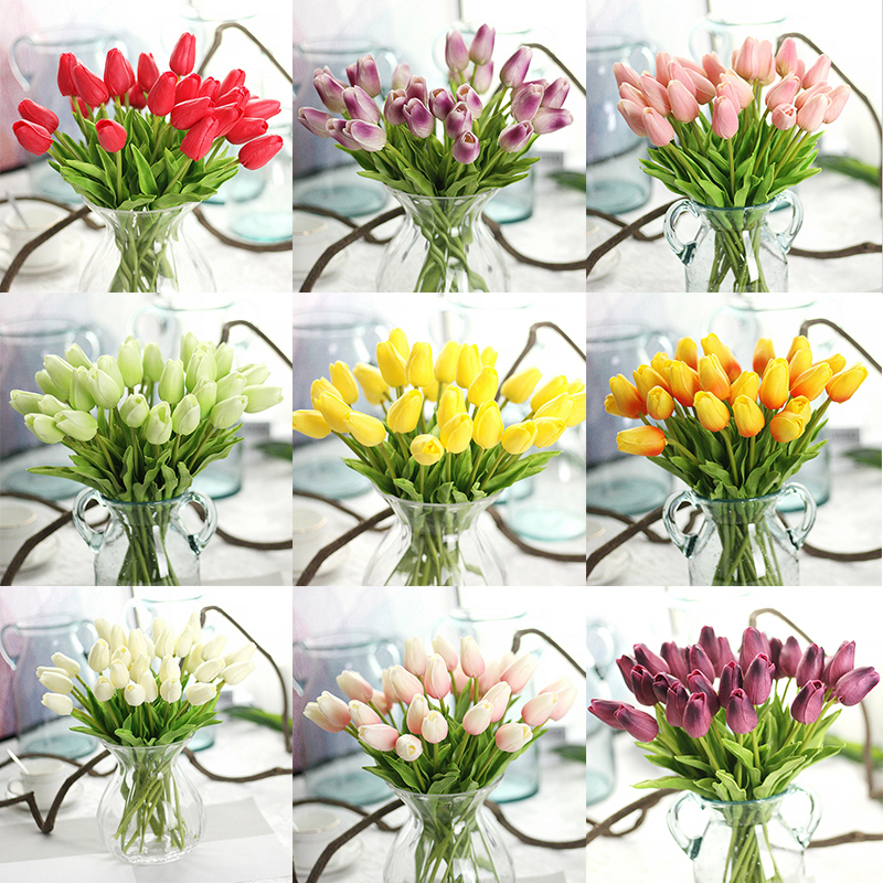 1Pcs Real Touch PU Tulip Artificial Bouquet Flowers For Home Gift Wedding Decorative Flowers Tulip Artificial Flowers Wholesale