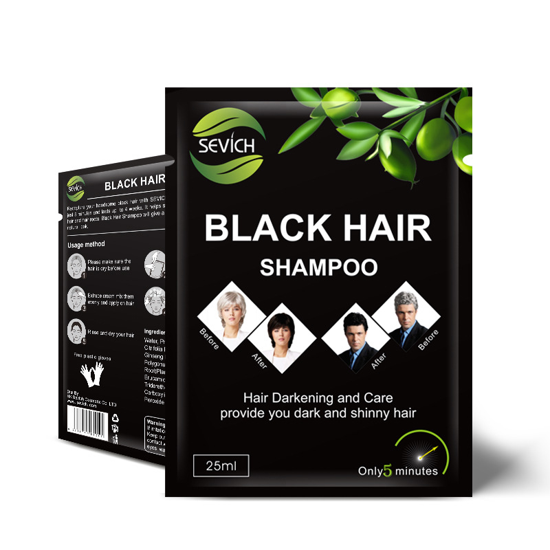 5pcs/lot Sevich Black Hair Shampoo Only 5 Minutes Grey Become Black Hair Color Hair Dye