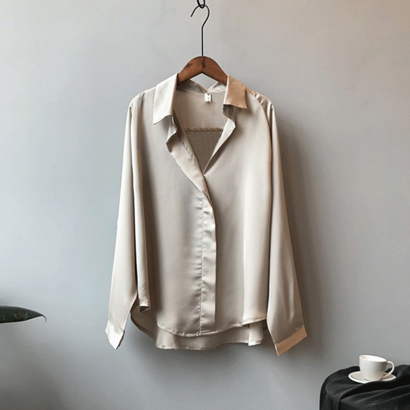 Sexy V-neck Shirt Solid Color Loose Korean Style Long Sleeve Blouse Loose Elegant Women Tops Blouses