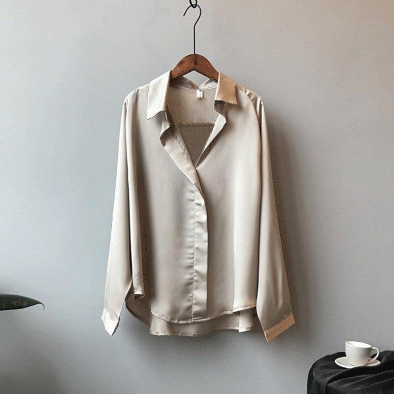 Sexy col en v chemise couleur unie en vrac Style coréen à manches longues Blouse en vrac élégant haut pour femme Blouses