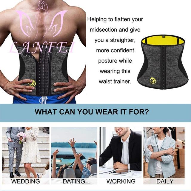 LANFEI Men Hot Neoprene Waist Trainer Trimmer Belt Workout Fitness Slimming Corset Shapwear Sauna Sweat Body Shaper Strap Girdle 3