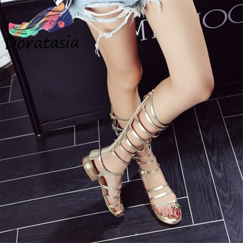 DORATASIA Casual Low Chunky Heels Shoes Elegant Summer Sandals Women Brand Design Gold mid-calf Gladiator Sandals