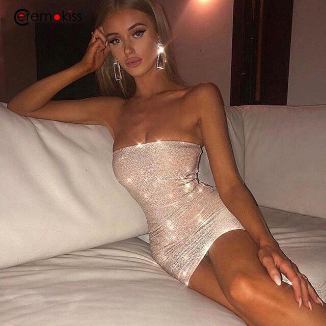 Ceremokiss Sparkle Lấp Lánh Đầm Sexy Ôm Vai Đảng Hộp Đêm Bodycon ĐẦM THU ĐÔNG Dây Hở Lưng Mini Vestidos