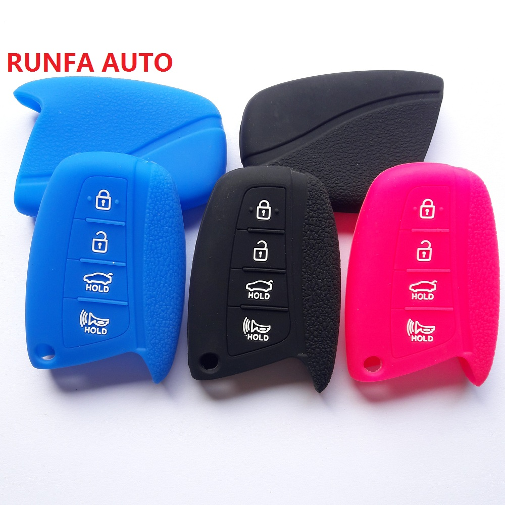 New Red 4 Buttons Silicone Protector Smart Remote Key Cover Fob Skin Bag Case Holder for HYUNDAI ix45 Santa Fe