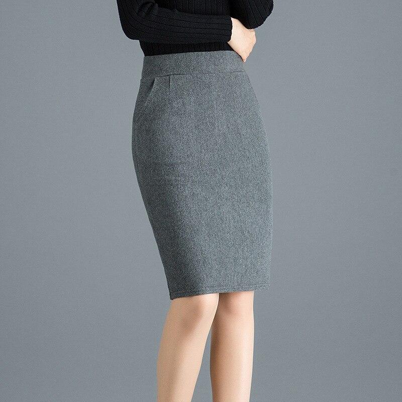 Woman High Waist Wool Pencil Skirt Women Autumn Winter Formal Bodycon Skirts Knee Length Work Wear Solid Black Grey Saias Jupe