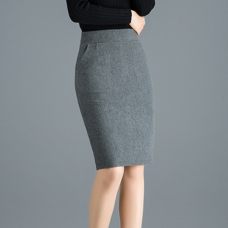 Woman High Waist Wool Pencil Skirt Women Spring Autumn Formal Bodycon Skirts Knee Length Work Wear Solid Black Grey Saias Jupe