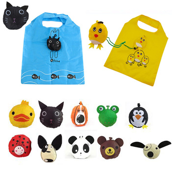 New Cute Animal Foldable Reusable Grocery  Handbag Shopping Bags Tote Storage Eco Travel Pouch Animal Shopping Bags hot new 7 colors tropical fish foldable eco reusable shopping bags 38cm x58cm