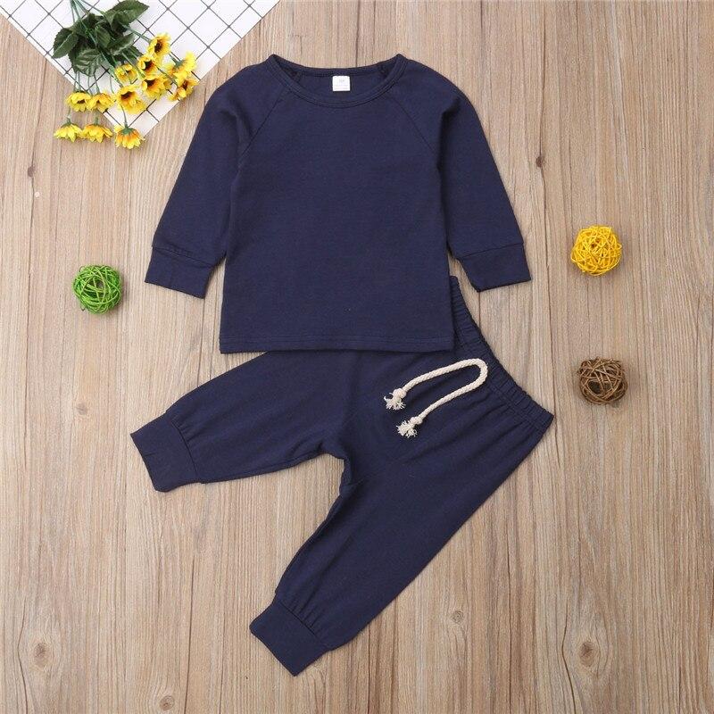 0-2T Neugeborenen Unisex Casual Kleidung Set Baby mädchen Jungen Set Baumwolle Solide Tshirt Top Hose 2 stücke frühling Kleidung