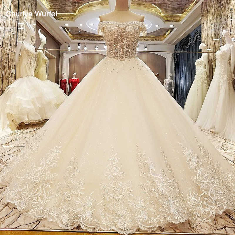LS85321 robe de mariage 2018 lace up back off the shoulder floor length ball gown lace wedding dresses organza real photos