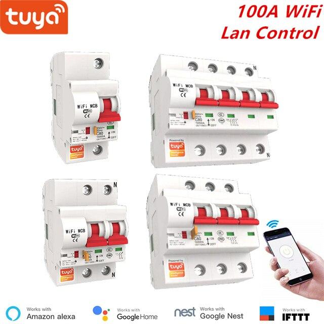 Tuya חכם WiFi מפסק 100A 1P/2P/3P/4P חכם ממסר אוטומטי מתג עומס יתר הגנה קצרה Lan שליטה