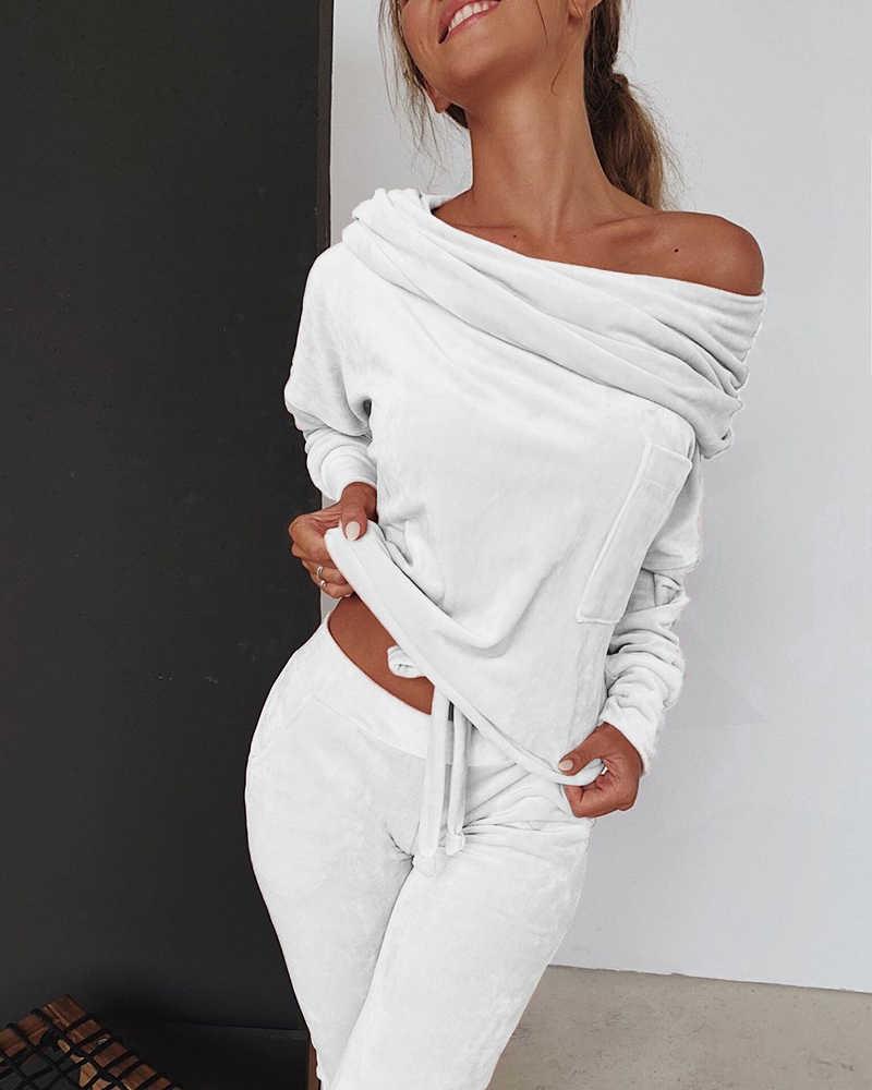 Moletom feminino 2 peças conjunto de treino outono um ombro calças moletom define esporte wear agasalho veludo lounge terno