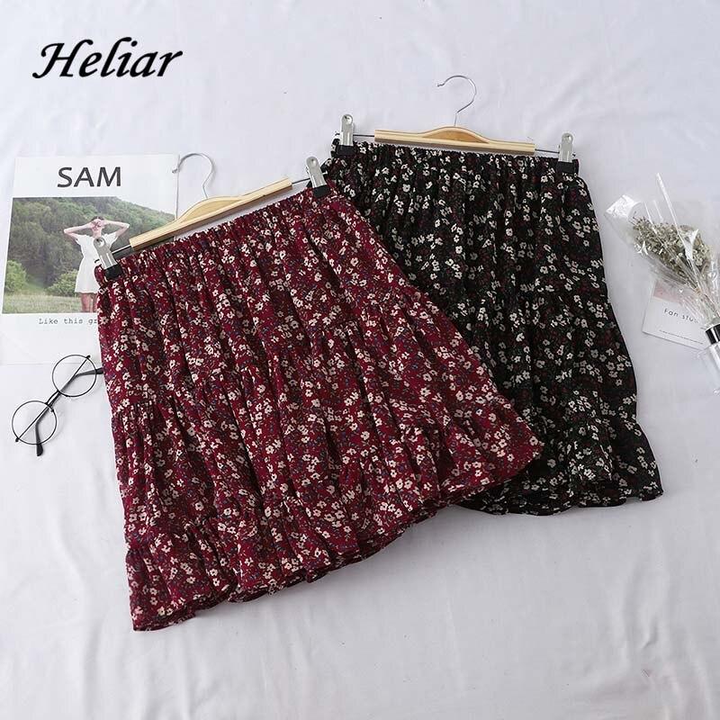 Heliar Pleated Floral Printed Skirt Fashion Skirt High Waist Skirt 2019 Autumn Casual Women Mini  Lady Skirt For Women