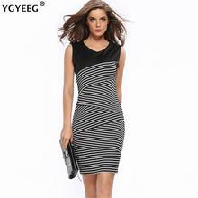 Женское облегающее платье ygyeeg черно белое карандаш в полоску