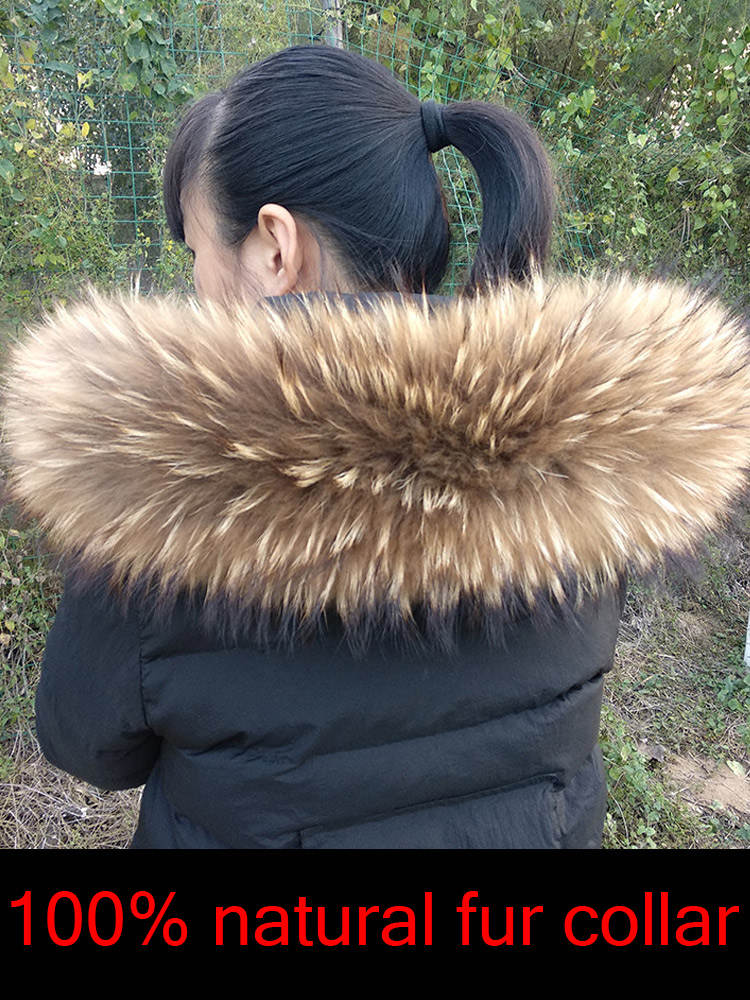 Coats Scarves Jackets Parkas Fur-Collar Warm Cllikko Male Natural Large Women Luxury