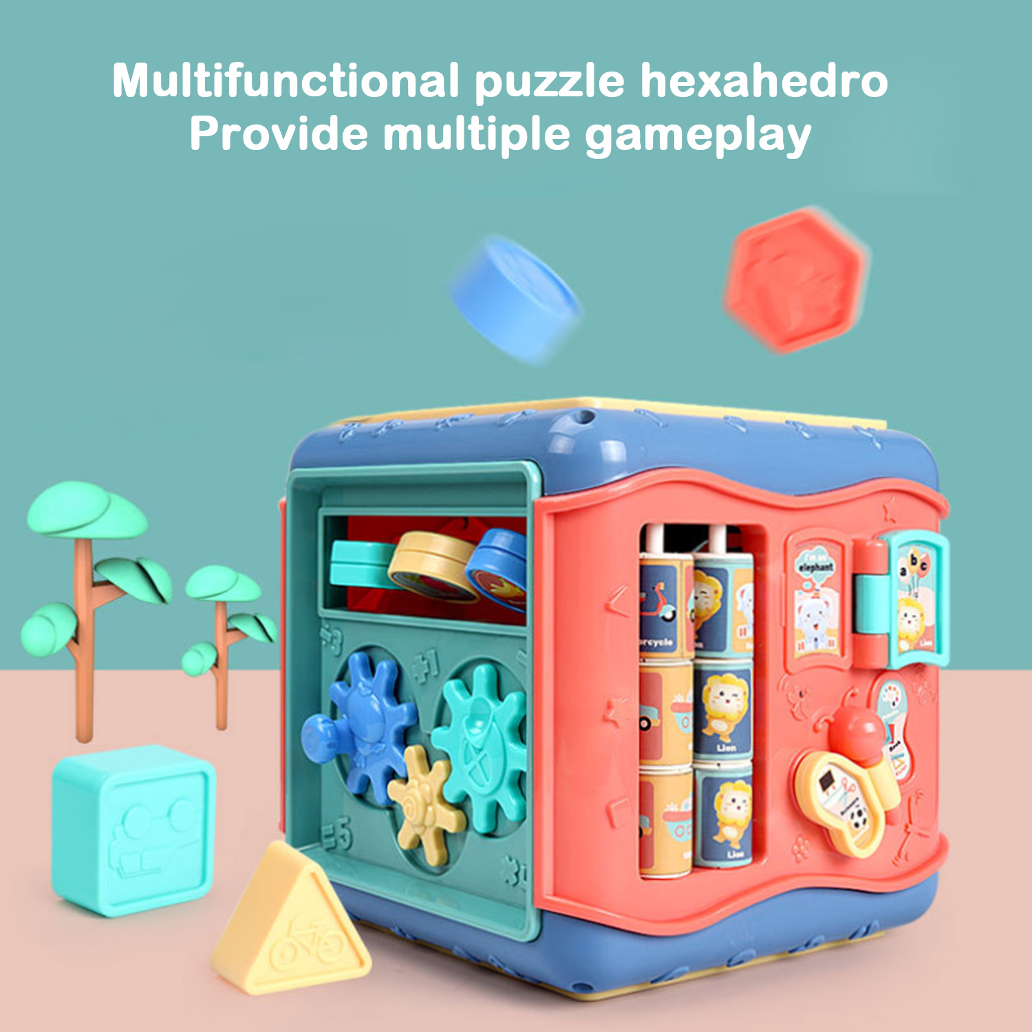 6in1 Baby Multifunctional Musical Activity Play Cube Gear Geometric Blocks Sorting Box Number Clock Matching Cognition Case Toy