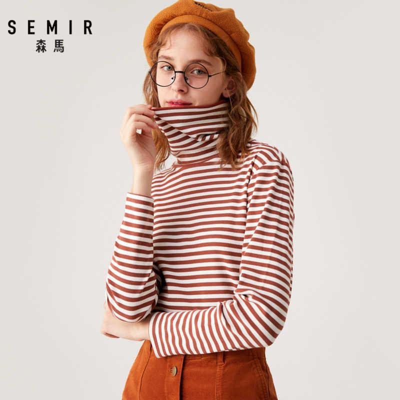 Semir camisa de manga longa das mulheres 2019 inverno novo bottoming t camisa quente alta pescoço magro tshirt estudante maré