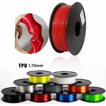 Filamento flexível da impressão do filamento 3d dos materiais de impressão plásticos cor vermelha preta cinzenta do filamento 1.75mm 500g/250g tpu da impressora 3d