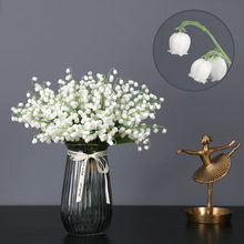 1 pçs flores artificiais lírio branco do vale plástico falso flores para o casamento decoração de casa buquê diy para o ano novo