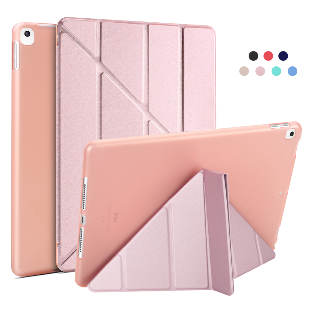 Rose Gold White For iPad 10 2 Case 2020 2019 PU Leather Multi Fold Stand Smart Cover For iPad
