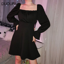 DUOUPA 2019 New Fashion Dress Ladies Square Collar With Sexy Black Slim Lotus Leaf Back Temperament Lace black