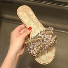 Женские кожаные брендовые пляжные шлепанцы; женские тканые Прошитые сандалии с жемчугом и стразами; пляжные шлепанцы на плоской подошве; обувь для подиума; женская обувь